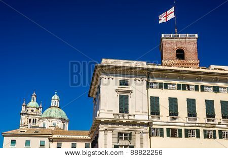 Towers Of San Lorenzo Cathedral And Doge's Palace In Genoa - Italy