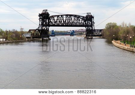 Bridges over the Des Plaines River in Joliet, Illinois