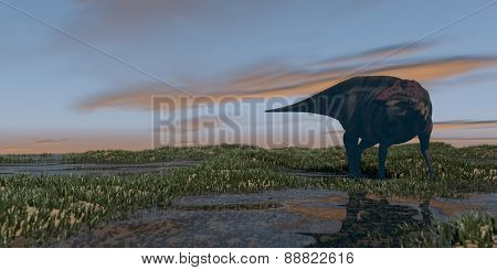 shuangmiaosaurus grazing in grass field