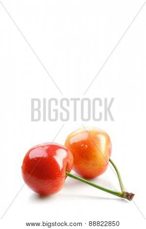 Cherries on white background - close up