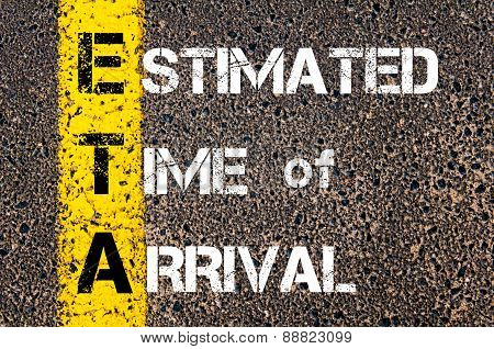 Business Acronym Eta As Estimated Time Of Arrival