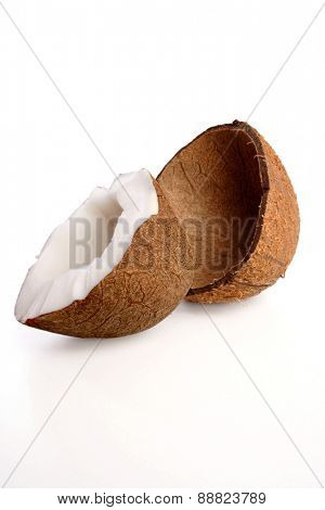Close up of halved coconut