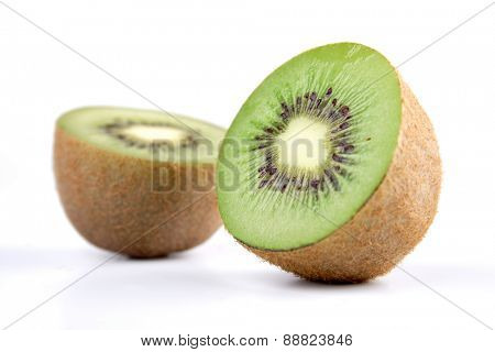 Studio shot of halved kiwi