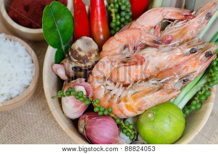 Spices And Prawn In Bowl On Sackcloth Background