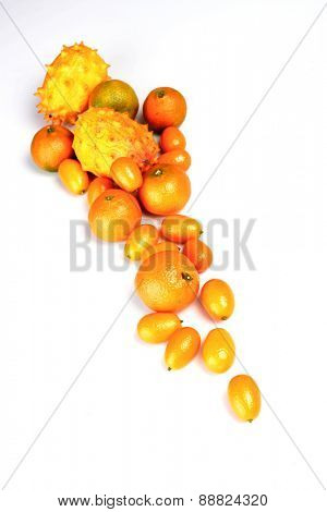 Composition of exotic fruits on white background