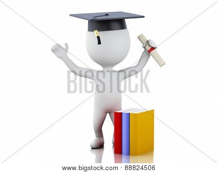 3d white people graduate with diploma, graduation cap.