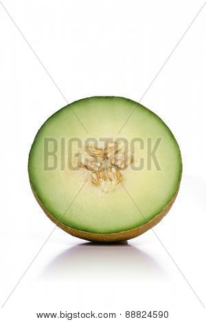 Halved melon on white background