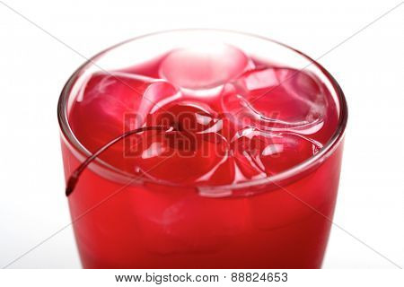 Close-up of drink with ice cubes