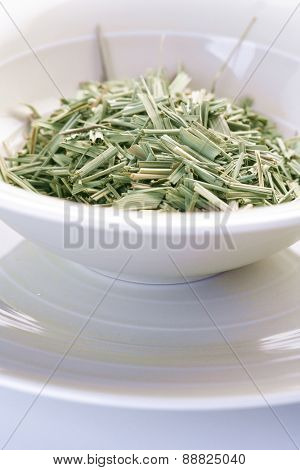 Close up of lemon grass in bowl