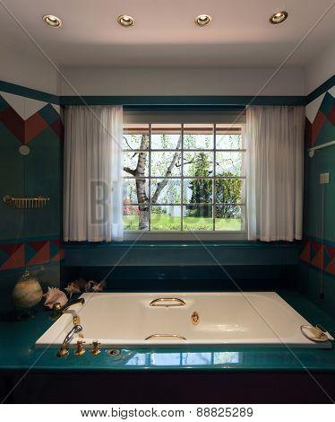 Interior house, comfortable bathroom with bath