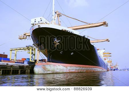 Commercial Ship In Port Loading Container