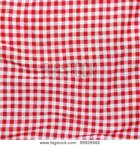 Red Linen picnic Tablecloth texture.