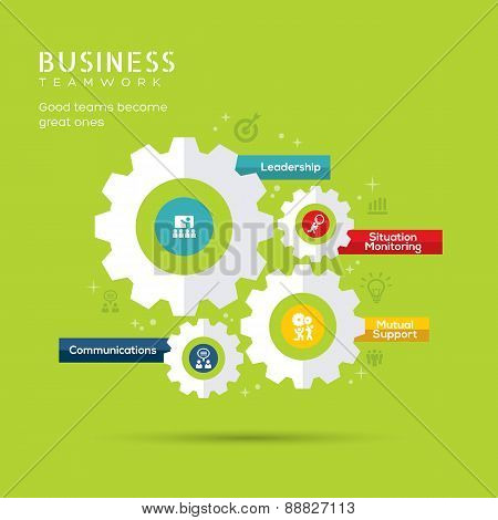 Business Teamwork Concept Icons With Gear Illustration
