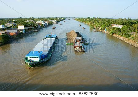 Asia River Traffic, Mekong Delta, Transport Cargo