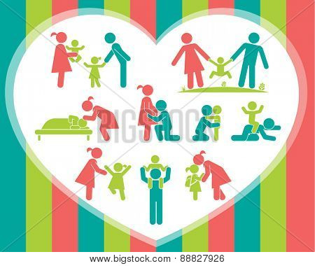 Children and their parents. Pictogram presenting parental love and care for children. Expecting baby, playing with kids, hugging, preparing for school, putting children to bed. Vector  illustration.