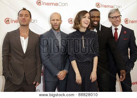LAS VEGAS - APR 23: Jude Law, Jason Statham, Rose Byrne, Curtis '50 Cent' Jackson, Paul Feig at the Twentieth Century Fox Presentation at Cinemacon at Caesars Palace on April 23, 2015 in Las Vegas, NV