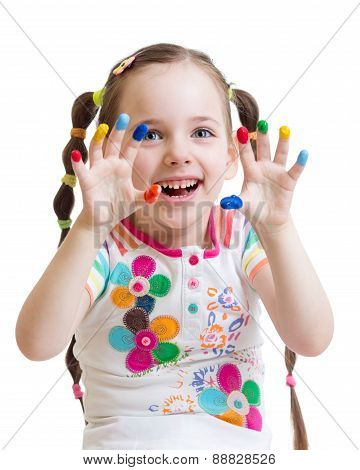 child girl with painted hands