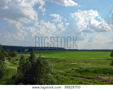 Volumetric clouds over field with green grass