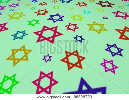 Six-pointed Stars Of Different Colors On A Green Canvas Texture