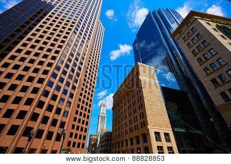 Boston Massachusetts downtown buidings cityscape in USA