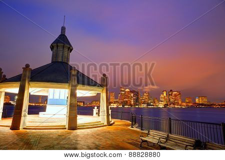 Boston skyline at sunset at Piers Park in Massachusetts USA