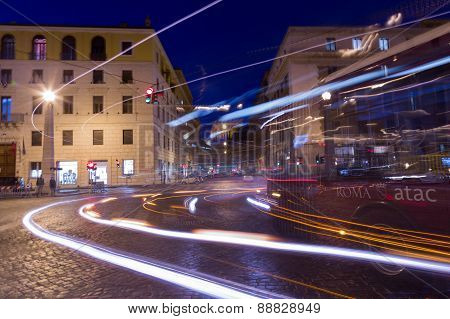Traffic In Rome At Night