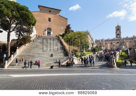 Cordonata Steps In Rome At Capitoline Hill