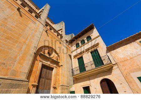 Majorca Santanyi village Sant Andreu church in Mallorca Balearic island