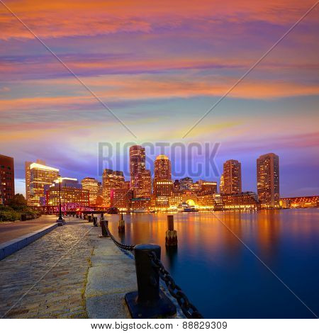 Boston sunset skyline from Fan Pier in Massachusetts USA