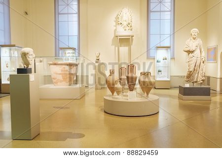 MOSCOW, RUSSIA  -  APRIL 08, 2015: Pushkin Museum - one of the largest and most significant Russian museums of European and world art. 