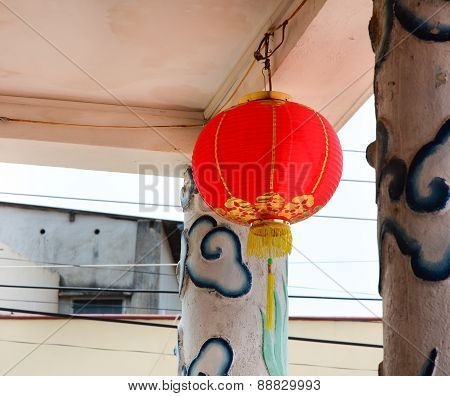 Red Lantern Hanging In Old Temple