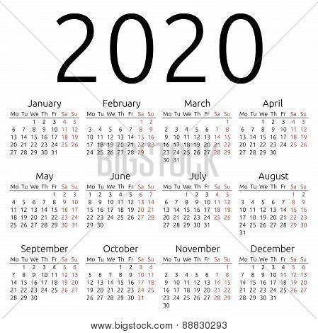 Simple Vector Calendar 2020