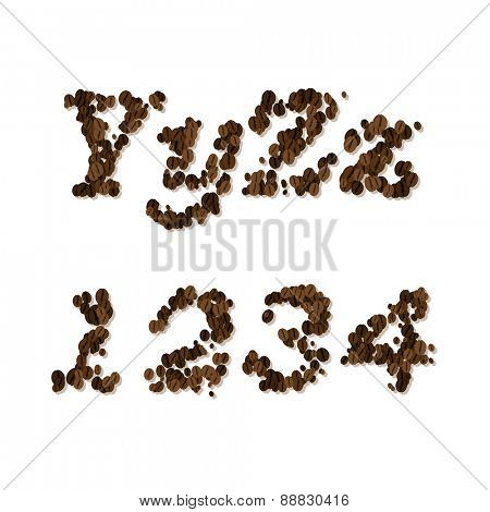 coffee seed font, alphabet letters and digits