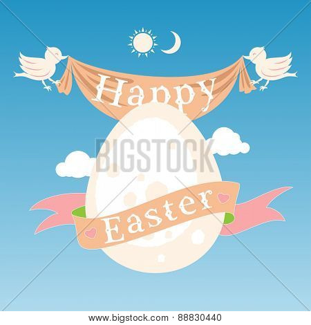 Happy Easter concept with egg, birds and ribbon