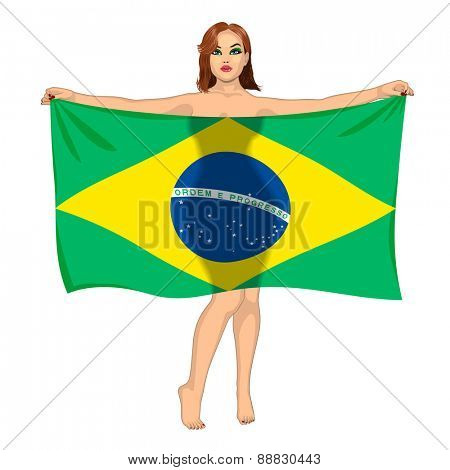 sexy girl behind the flag of Brasil