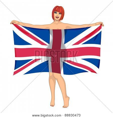 sexy girl behind the flag of Great Britain