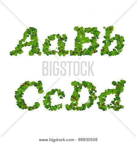 Happy Saint Patrick's Day font, alphabet letters and digits from clover with ladybugs
