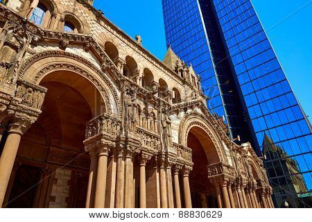 Boston Trinity Church at Copley Square in Massachusetts USA