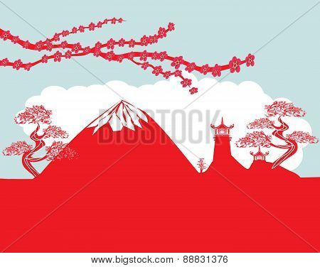 Card With Asian Buildings And Mount Fuji. Fujiyama