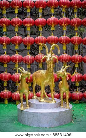 Golden Goats In Chinese Temple