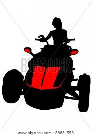 Silhouettes athletes on quad on white background