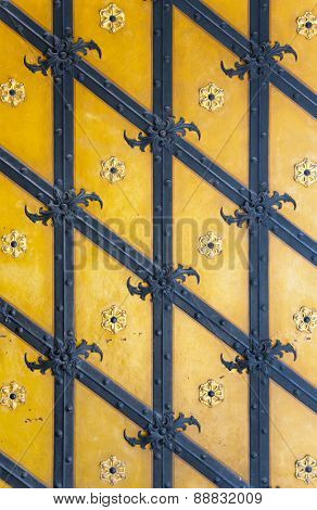 texture of the iron pattern on the old gate
