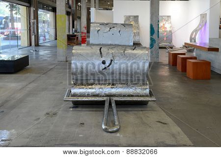 Contemporary sculpture in gallery
