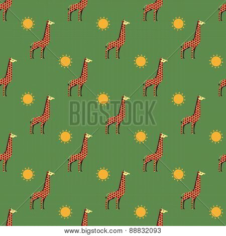 giraffes and sun pattern