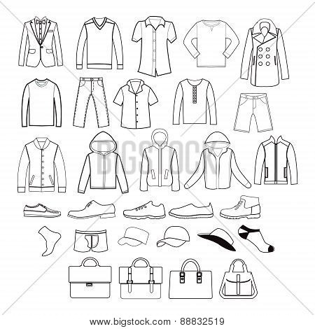 Set Of  Men Clothing Garments And Accessories Icons