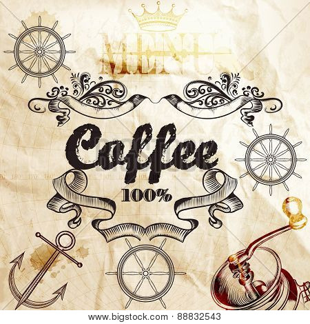 Coffee Background On A Old Paper Texture With Map And Coffee Mill