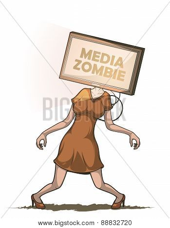 Media zombie with flat screen Tv instead of the head. Isolated