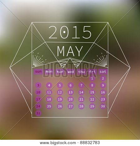 Calendar May 2015 Design. Abstract Blurred Background