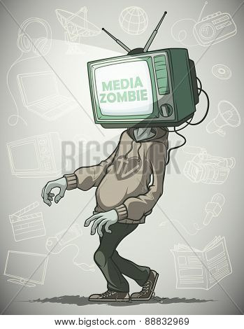 Media zombie with a Tv instead of a head