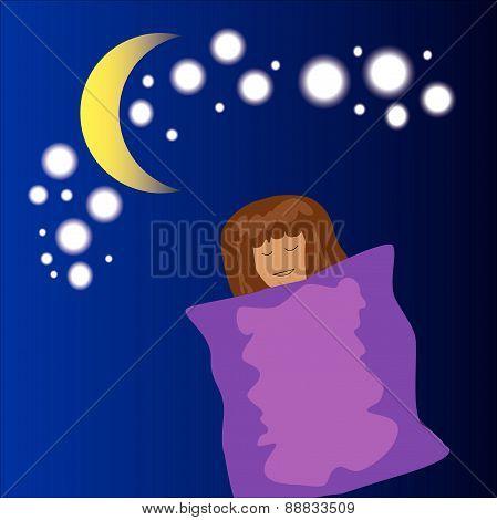 sleeping girl cartoon
